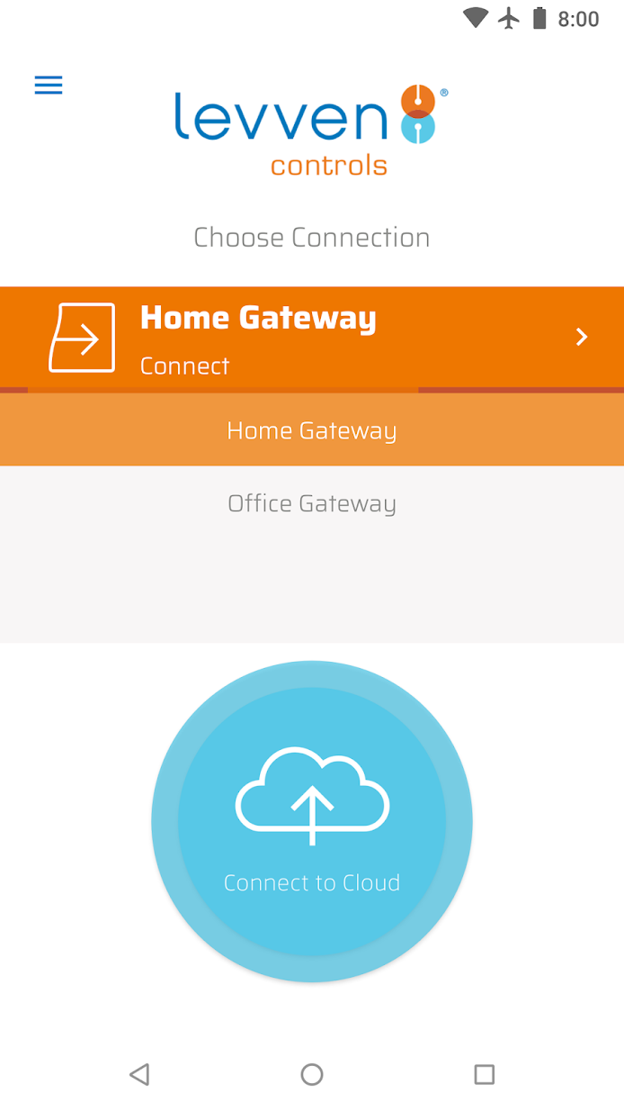 Gateway connection screen for the Levven Controls app