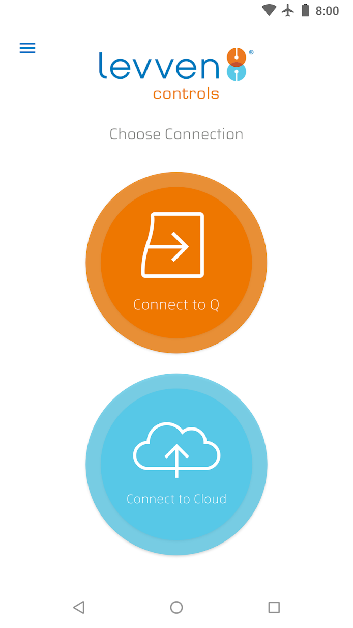 Screenshot showing connection options for the Levven Controls app