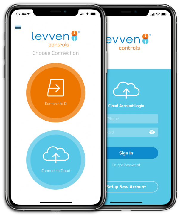 2 mobile phones displaying the Levven Controls mobile app